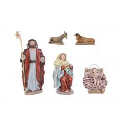 Nacimiento barro lienzado (002-004) - 5 piezas, 17 cm