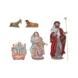 Nacimiento barro lienzado (312-315/075-077) - 5 piezas, 21 cm