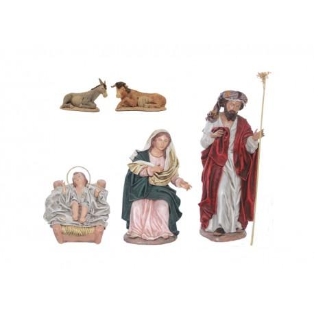 Nacimiento barro lienzado (305-307/011-014) - 5 piezas, 17 cm